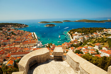 View of the town of Hvar, on the island of Hvar in Croatia