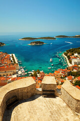 View of the port of Hvar, on the island of Hvar in Croatia