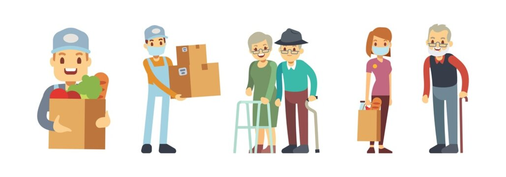 Delivery services. Volunteering, food courier with box and packaging. People delivering grocery. Contactless service, charity or social help vector illustration. Courier delivery with package in mask