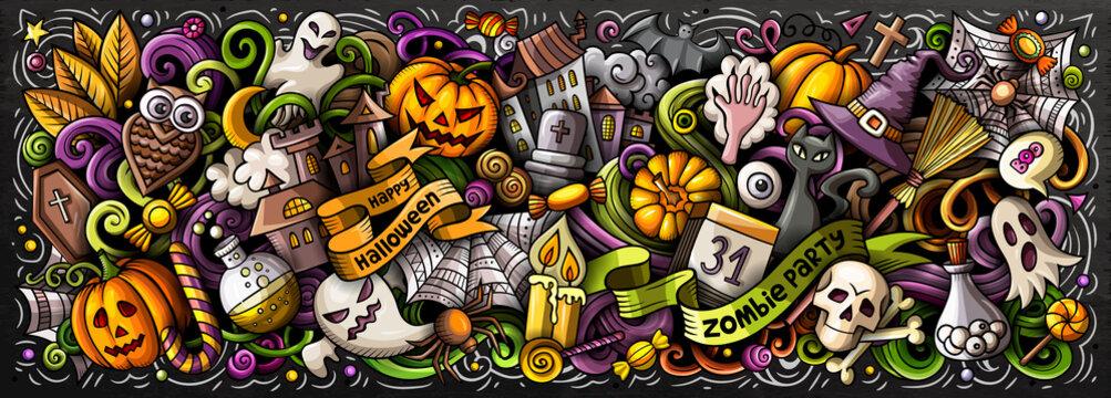 Happy Halloween hand drawn cartoon doodles illustration.