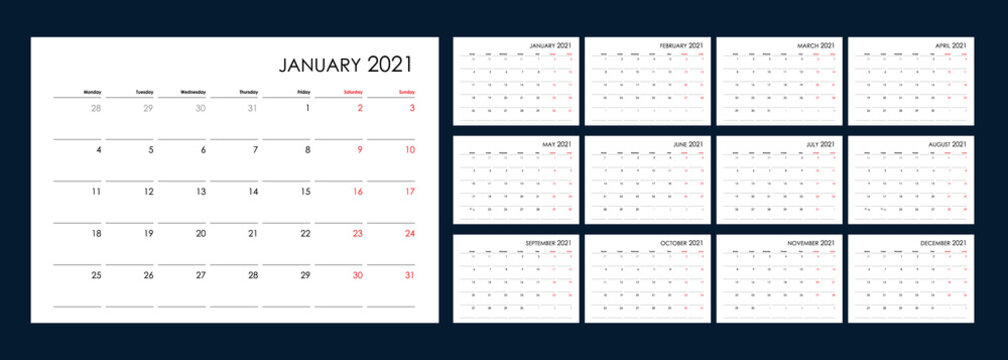 Calendar for 2021 year. An organizer and planner for every day. Week starts from Monday. 12 boards, months set. Wall layout. Clear template. English language.