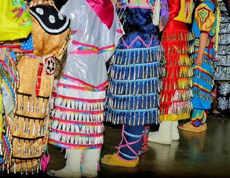 Colorful powwow Jingle dresses