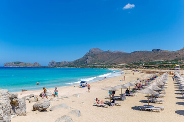Falasarna beach, one of the most famous beaches of Crete located in the Kissamos province, at the northern edge of Crete's western coast.