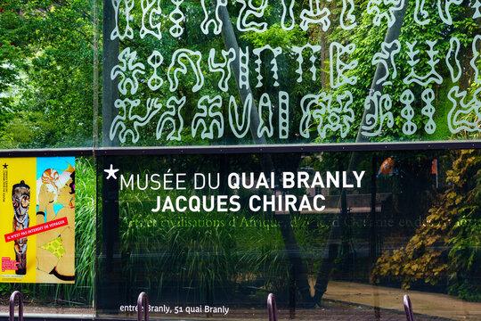 Paris, France - July 07 2020: The Quai Branly Jacques Chirac museum
