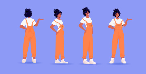 Wall Mural - set woman in casual trendy clothes female cartoon character standing pose different angles view full length horizontal vector illustration