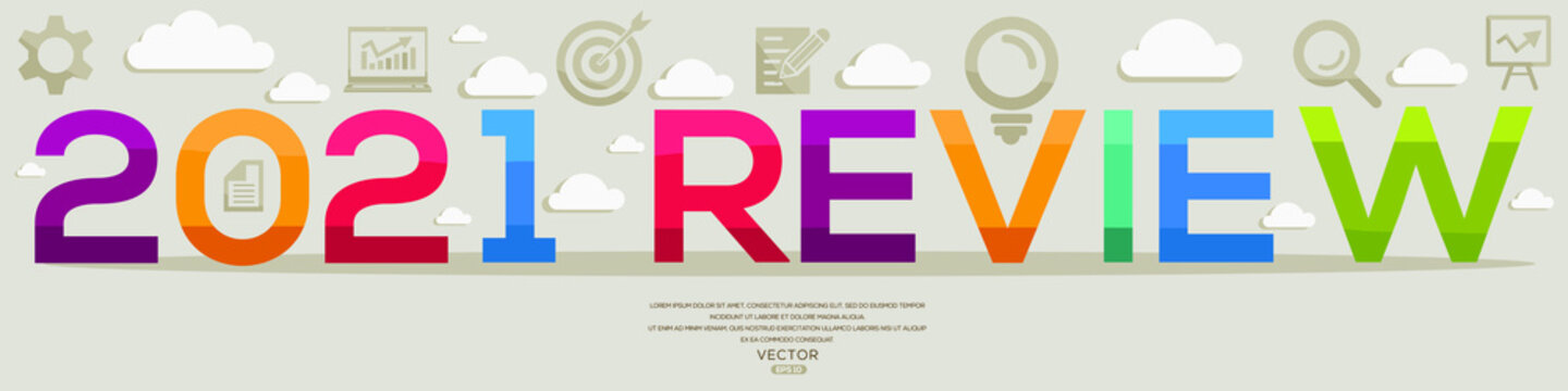 Creative (2021 review) Design,letters and icons,Vector illustration.