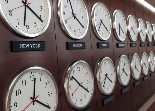 World wide time zone clock. Clocks on the wall, showing the time around the world.