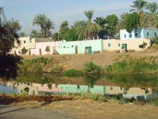 Egypte, village sur les rives du  Nil