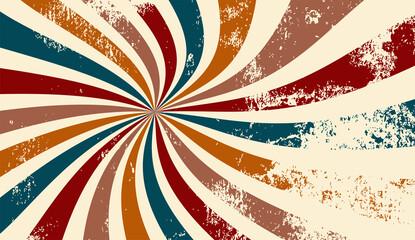 retro groovy sunburst background pattern in 60s hippy style grunge textured vintage color palette of blue orange red beige and brown in spiral or swirled radial striped starburst vector design
