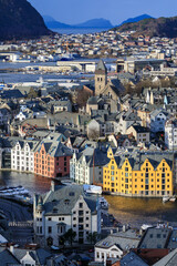 View from Aksla hill over beautiful Alesund, colourful Art Nouveau buildings in winter, Alesund, More og Romsdal
