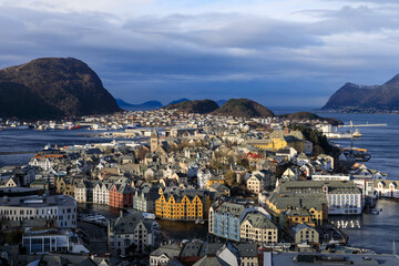 View from Aksla hill over Alesund, Art Nouveau buildings, mountains and sea in winter, Alesund, More og Romsdal
