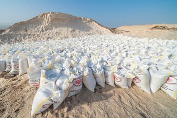 Salt bags in the salt mine of Lake Afrera (Lake Afdera), Danakil Depression, Afar Region, Ethiopia