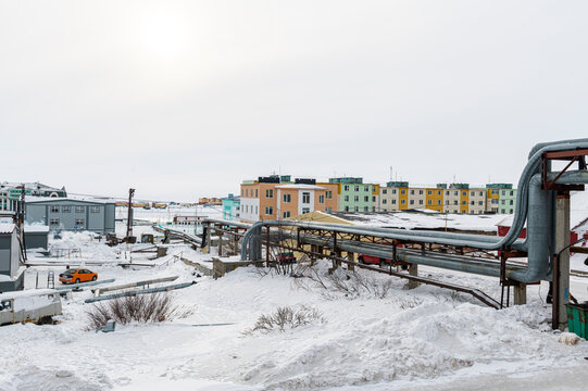 Open air heat pipeline, Anadyr, easternmost city in Russia, Chukotka autonomous Okrug