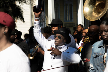 Marching in a Second Line Parade in New Orleans Wall mural