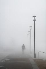 Walking in dense morning fog, French Quarter