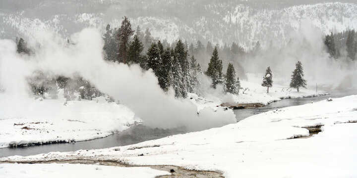 Hot Springs emptying on the Firehole River, Wyoming