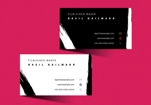 Business Card Layout with Black and White Accent