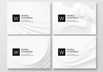 4 White Abstract Background Layouts