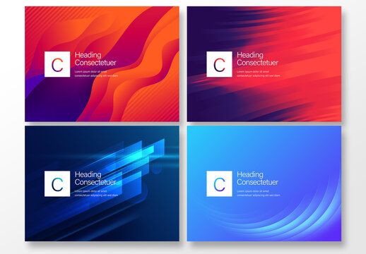 4 Red and Blue Abstract Background Layouts