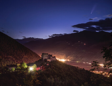 Comet Neowise appears over Val Venosta Castle ruins in South Tyrol