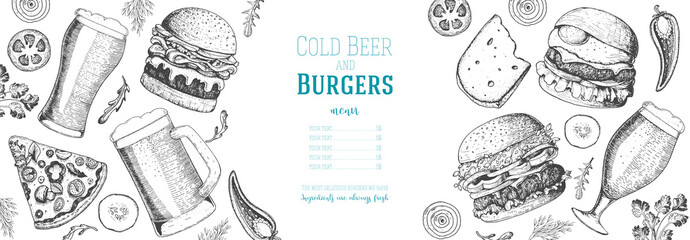 Pub food menu. Beer and burgers vector illustration. Fast food, junk food frame. Elements for burgers restaurant menu design. Engraved image, retro style.