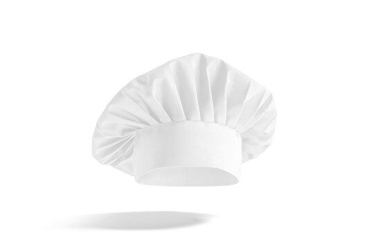 Blank white toque chef hat mockup, no gravity