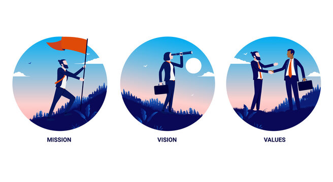 Our mission, our vision, our values - Business illustrations for core values, strategy and principles. Vector illustration.