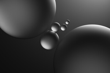 Glass spheres and dramatic lighting over dark grey background, 3D Illustration