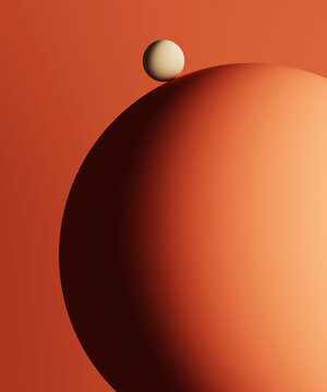 Three dimensional render of small sphere on top of large one