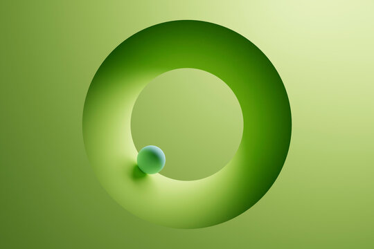 Three dimensional render of small sphere inside green ring