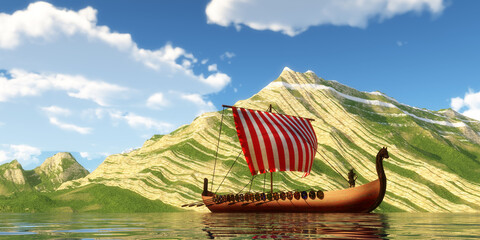 Viking Ship and Sail - A Viking Ship and explorers sail past a mountain shoreline in a far off land on a sunny day.