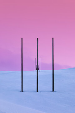 Power pylons in winter landscape