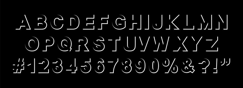 modern graphic creative part stroke typography font alphabet, letters, numbers, sign and symbols, white stock vector illustration clip art abc isolated on black background