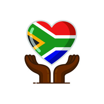Hand Heart African Flag Heart. Heritage Day. Vector Cute Cartoon Illustration