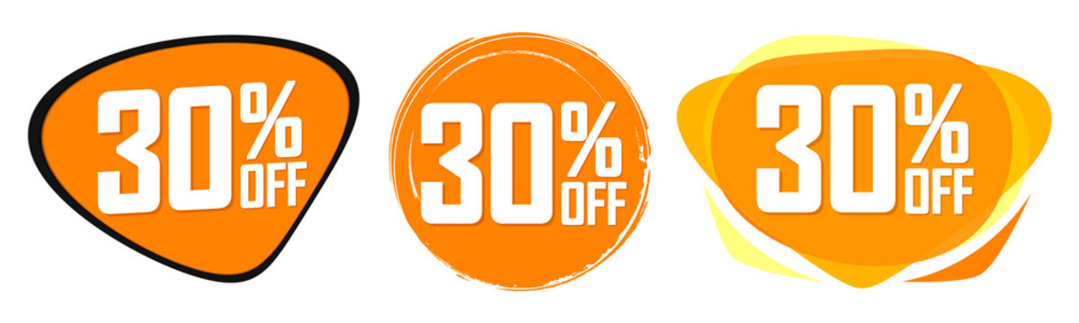 Set Sale 30% off banners, discount tags design template, promo app icons, vector illustration