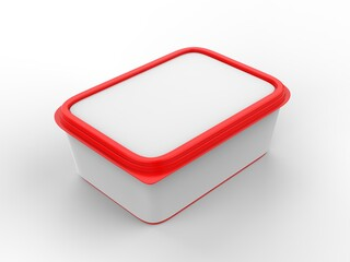 Food tray with blank paper label, 3d render illustration.
