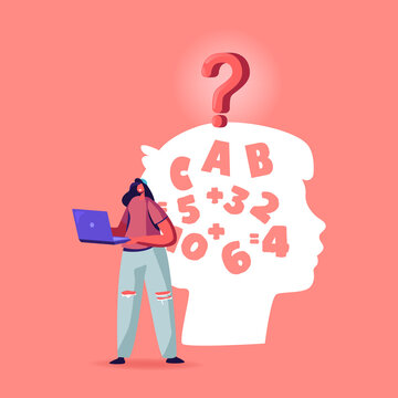 Dyslexia Disease Diagnosis Concept. Female Character Teenager with Laptop in Hands Stand at Huge Child Head Silhouette