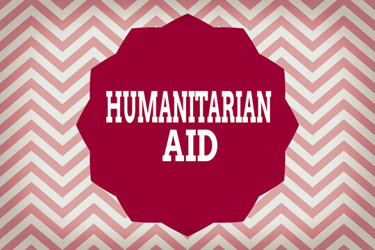 Word writing text Humanitarian Aid. Business photo showcasing immediate assistance provided after natural and manmade disaster Twelve 12 Pointed Star shape Dodecagon in Solid Color Zigzag effect