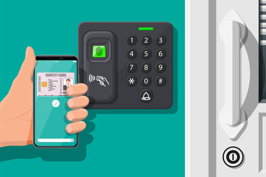 Password and fingerprint security device at office or home door. Hand with smartphone with id card application. Access control machine, time attendance. Proximity card reader. Flat vector illustration