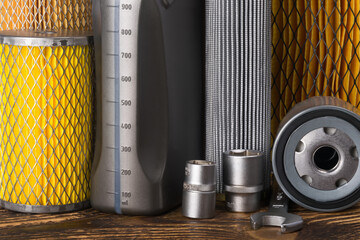 concept of tool and consumables for car maintenance, background
