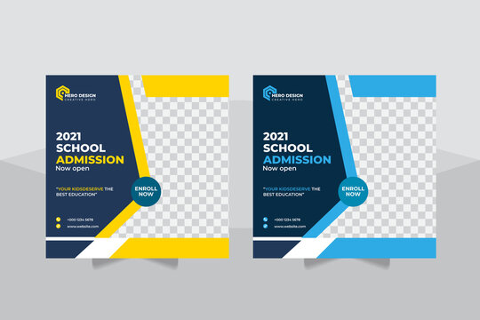 Students Admission social media post, Back to school admission promotion social media post template design, education advertisement