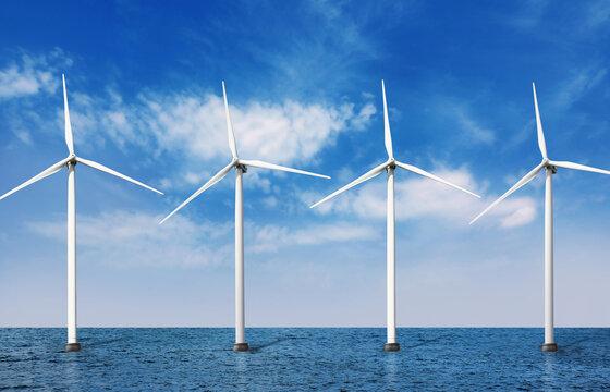 Floating wind turbines installed in sea under blue sky. Alternative energy source
