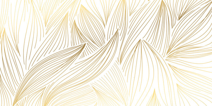 Luxury gold and nature  background vector. Floral pattern, Golden split-leaf plant with abstract line arts, Vector illustration.