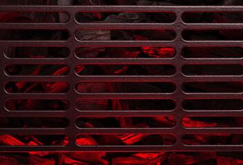 Fotobehang Brandhout textuur Metal barbecue grill over hot coal