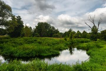 rzeka drzewa trawa krajobraz