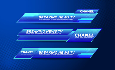 Broadcast News Lower Thirds Banner Template for Television, Media Channel, Video