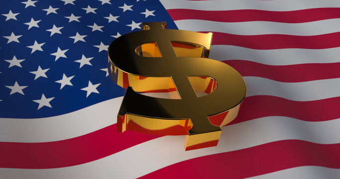 Dollar sign on the background of the USA flag