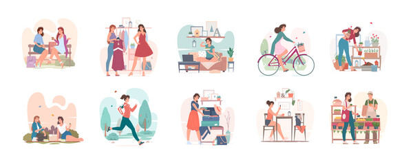 Ordinary day of young woman in city set of vector illustrations