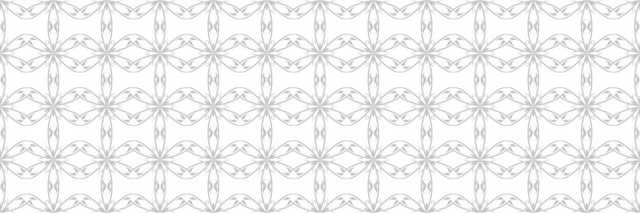 Seamless pattern with flowers. Gray on white background Fotobehang