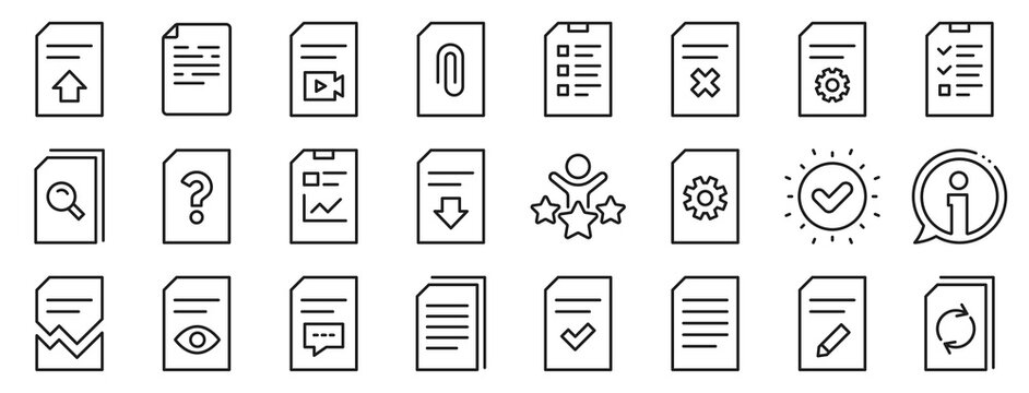 Set of Report, Checklist and Copy icons. Document Management line icons. Download file, Remove and Attach clip symbols. Search, Edit management document and Corrupt report file. Checklist copy. Vector
